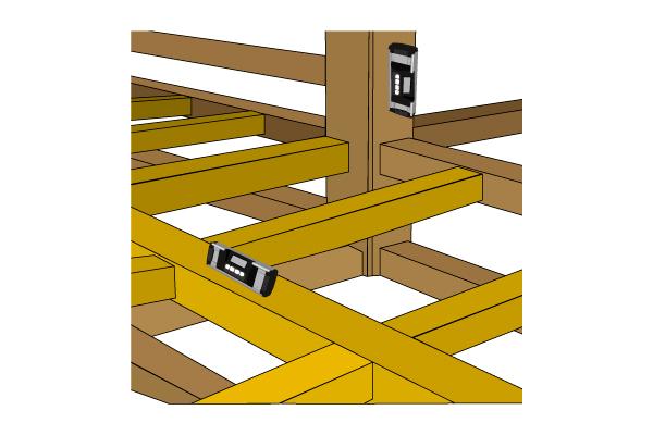 柱、組木等の水平・垂直の管理などに