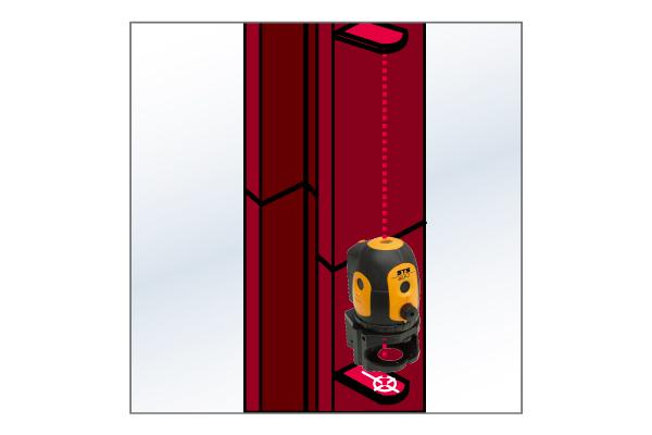 2つのターゲットを利用して鉄骨を垂直に設置